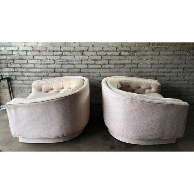 Mid-Century Modern Vintage Mid-Century Milo Baughman Style Tufted Barrel Chairs - A Pair For Sale - Image 3 of 10