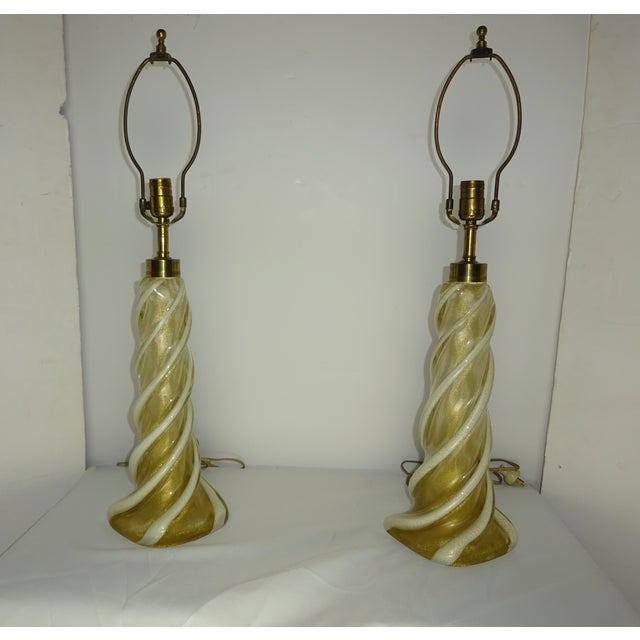 Seguso Murano Glass Twist Table Lamps - A Pair - Image 2 of 11