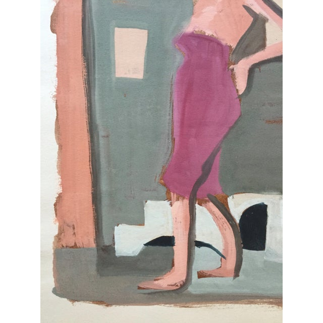 "Boho Chic Mid Century Bay Area Figurative Painting ""Angelina"" For Sale - Image 3 of 7"
