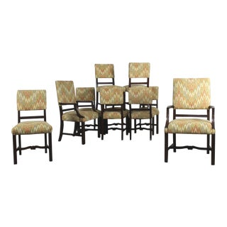 Vintage Georgian Revival Upholstered Dining Chairs - Set of 10 For Sale