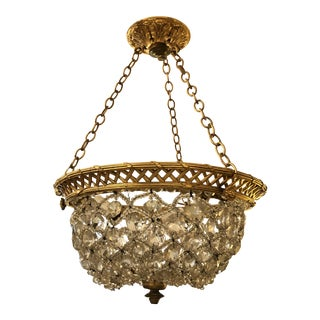 Vintage Crystal Encrusted Small Dome Shaped Chandelier For Sale