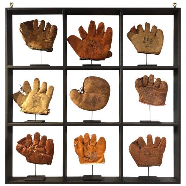Rare Antique Miniature Children's Set of Nine Custom Framed Baseball Gloves Mitt - Image 1 of 10