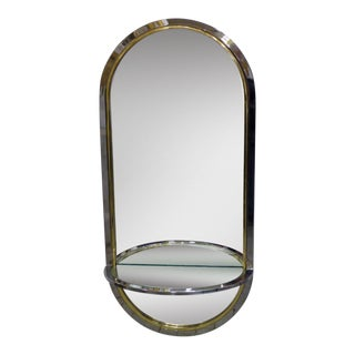 Pace Collection Chrome and Brass Mirror With Shelf For Sale