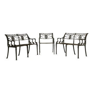 Neo Classical Style Cast Aluminum Dolphin Garden Settees & Armchair - Set of 3 For Sale
