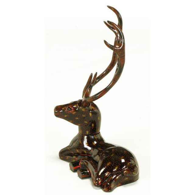 Carved Wood Hand Lacquered Recumbent Deer For Sale In Chicago - Image 6 of 8