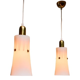 Pair of Gunnel Nyman Opaline Glass and Brass Pendants, 1940s For Sale