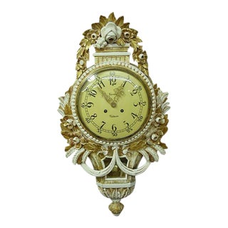 Swedish Gustavian Style Gilt Wood Cartel Wall Clock