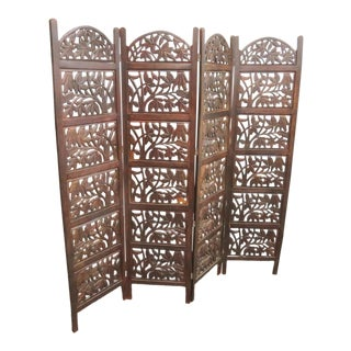Anglo Indian Carved Teak Screen For Sale