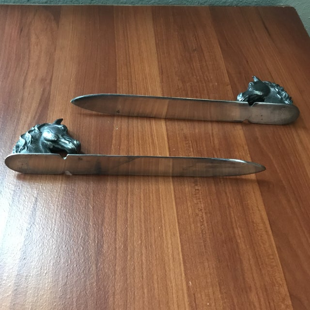 Metal Vintage Reed & Barton Silverplate Horse Head Letter Openers - a Pair For Sale - Image 7 of 9