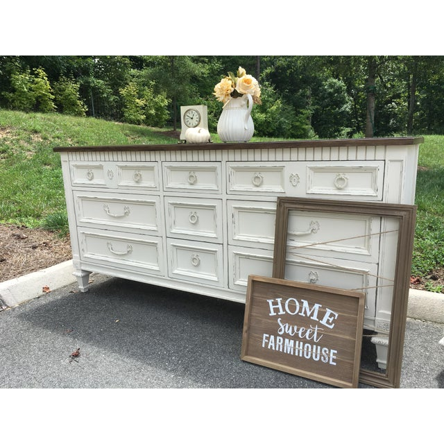 Gold Thomasville Walnut 9-Drawer Triple Dresser and Nightstand - Set of 2 For Sale - Image 8 of 13