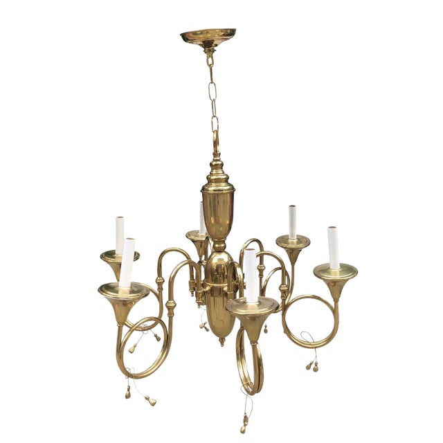 Mid-Century French Style Brass Hunting Horn 6-Light Chandelier For Sale