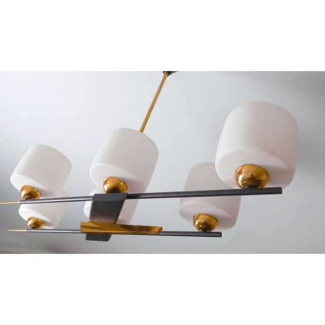 Arlus Arlus Brass and Opaline Chandelier, 1960s For Sale - Image 4 of 7