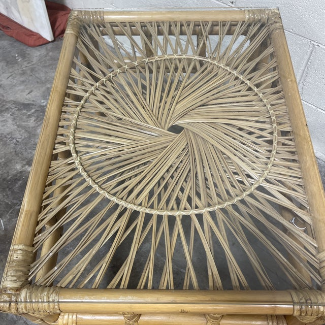 Bamboo & Wicker Glass Top End Tables For Sale - Image 4 of 8