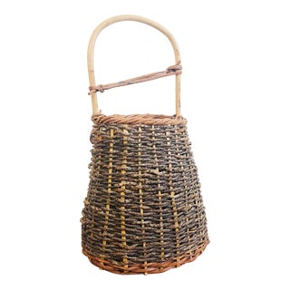 Large Vintage Japanese Woven Vine Basket For Sale