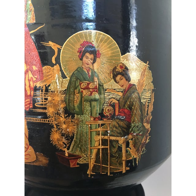Pair of Large Chinoiserie Style Urns or Vases on Pedestals of Glazed Terracotta - Image 5 of 8