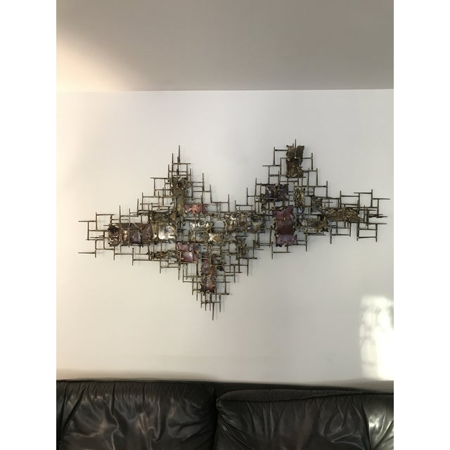 """Huge 72""""wide Signed Silas Seandel Brutalist Nail Sculpture Wall Art Mid Century For Sale - Image 13 of 13"""