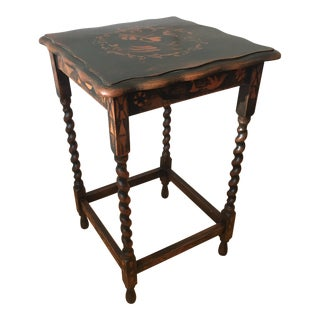 20th Century Lodge Hand Stenciled Refinished Side Table For Sale
