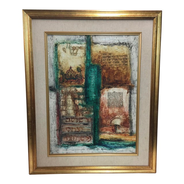 Mixed Media Talmud Painting For Sale