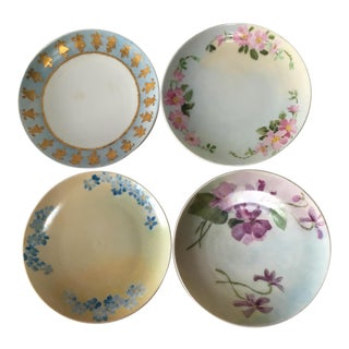 Antique French Miniature Hand Painted Dishes - Set of 4 For Sale