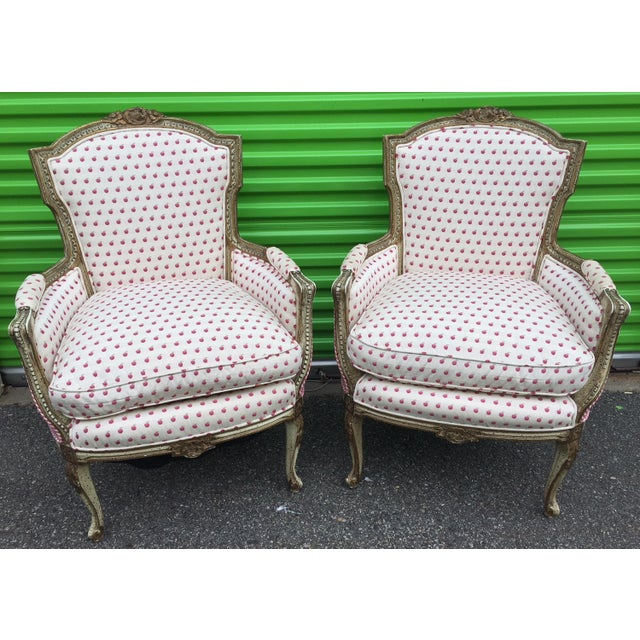 Vintage Mid Century French Style Bergere Chairs- a Pair For Sale - Image 10 of 12