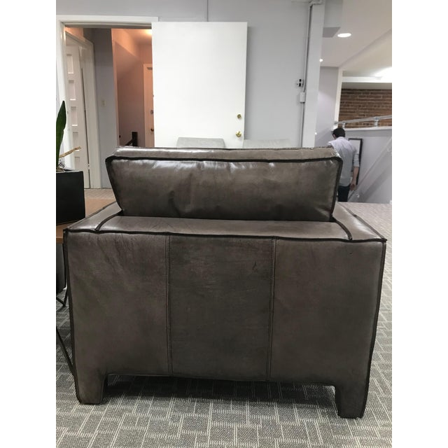 Gray Leather Lounge Chair For Sale - Image 4 of 6
