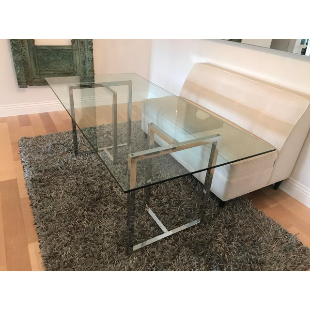"We bought the Silverado Chrome 72"" Rectangular Dining Table from CB2 and loved the open and airy feel it gave our dining..."
