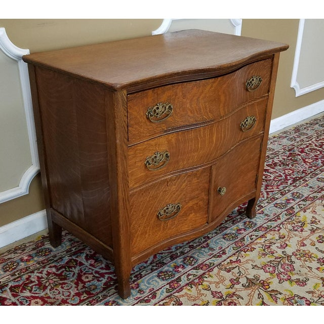 Antique Victorian Quartered Oak Wash Stand Chest C1900 - Image 5 of 9