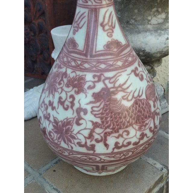 Red Flambe Dragon Vases - Pair - Image 3 of 5