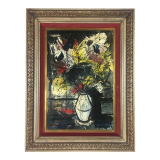 Painting by Charles Levier Circa 1970 in the Manner of Bernard Buffet For Sale
