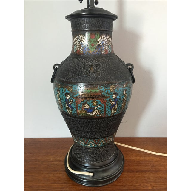 Mid 20th Century Antique Japanese Champleve Urn Style Lamp For Sale - Image 5 of 6