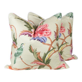 Chinoiserie Brunshwig & Fils Leshan Bird Pillows - a Pair For Sale