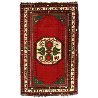 """Late 19th Century Antique Russian Kazak Lambswool Rug - 5′7"""" × 8′7"""" For Sale"""