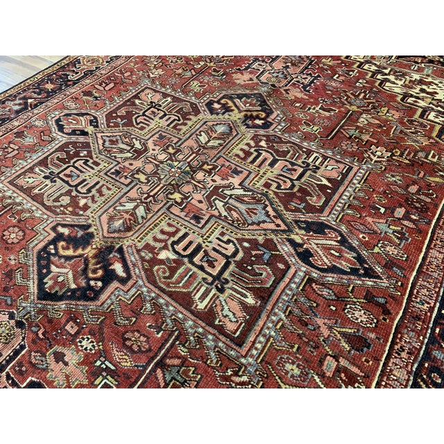 Early 20th Century Antique Persian Heriz Rug - 8′3″ × 12′5″ For Sale - Image 4 of 6