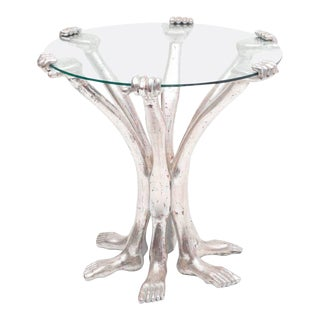 Pedro Friedeberg Silver Leaf Hand Foot Side Table, Mexico 1970s