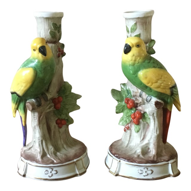 Vintage German Porcelain Parrot Candle Holders- a Pair For Sale