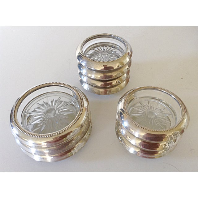 Sterling and Glass Coasters- Set of 10 - Image 2 of 6