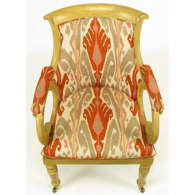 Pair Interior Crafts Regency Scrolled Arm Chairs In Ikat Fabric - Image 5 of 10