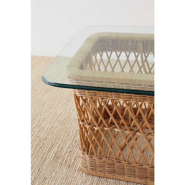 McGuire Organic Modern Rattan Wicker Coffee Cocktail Table For Sale In San Francisco - Image 6 of 13