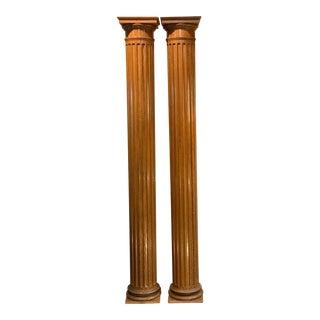 19th Century Carved Oak Decorative Columns-a Pair For Sale