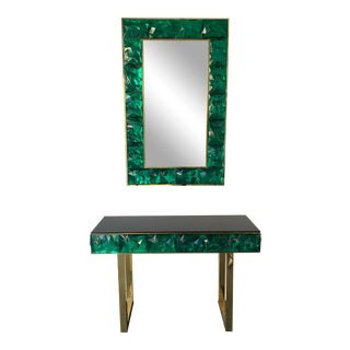 Contemporary Brass Mirror Console with Green Murano Glass, Italy For Sale