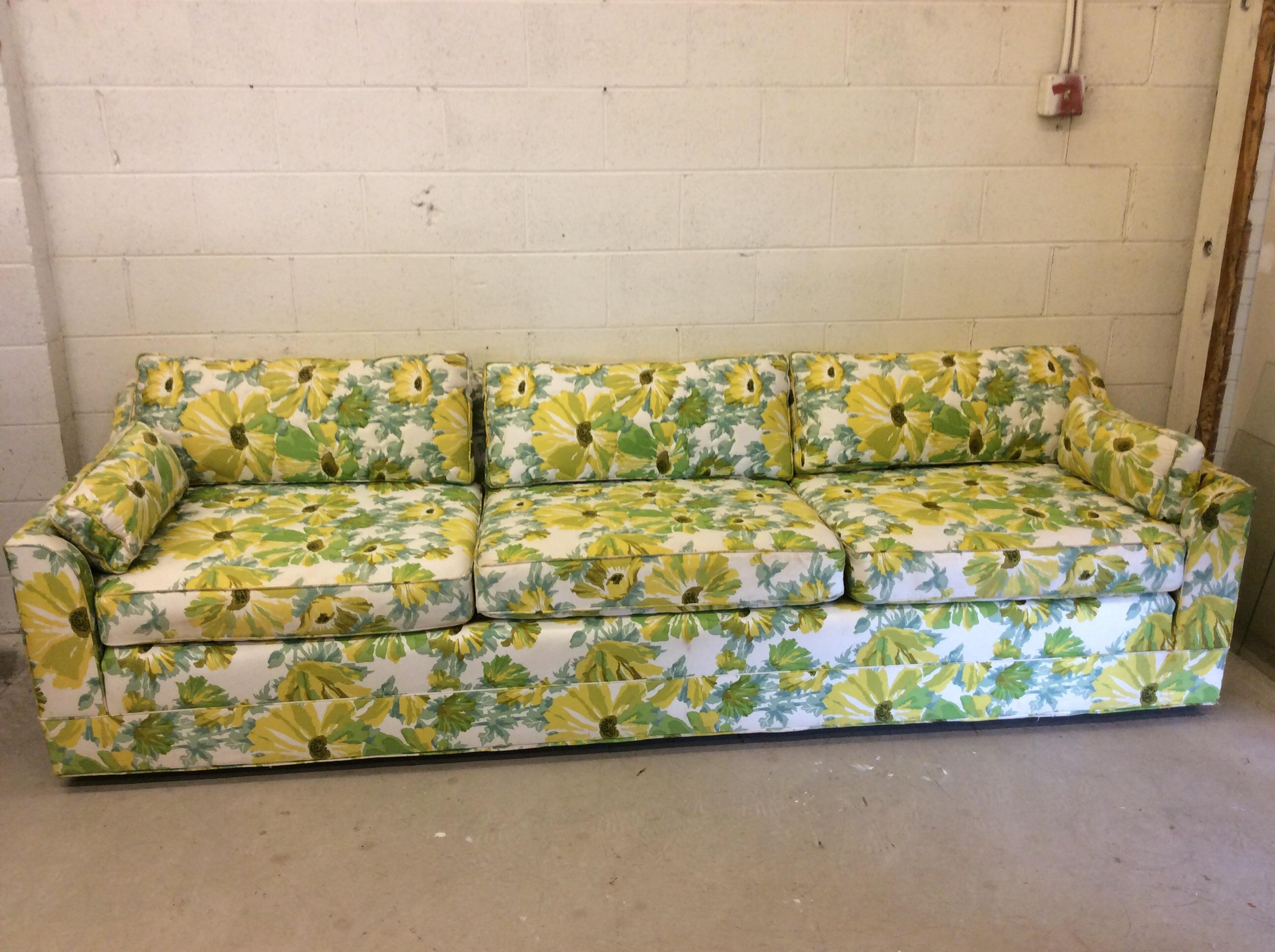 1970s Palm Beach Regency Style Floral Print Sofa   Image 2 Of 12