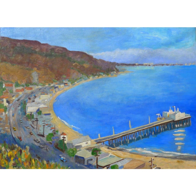 """Blue """"Malibu Pier, California"""" Contemporary Oil Painting by Martha Holden For Sale - Image 8 of 8"""