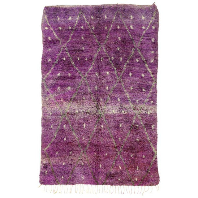 "20th Century Moroccan Berber Purple Rug with Diamond Pattern - 6'7"" X 10'2"" For Sale - Image 10 of 10"