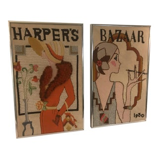 1970's Vintage Needlepoint Art Deco Harper's Bazaar Wall Art - a Pair For Sale