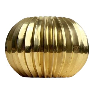 Mid Century Pleated Solid Brass Vase For Sale