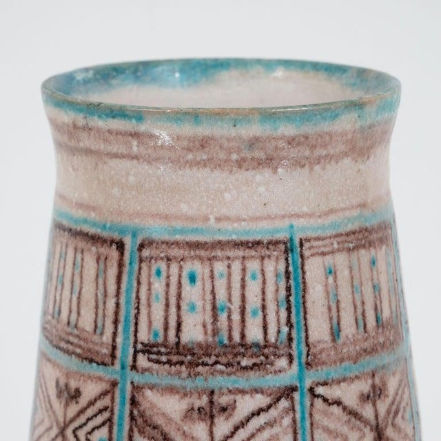 Boho Chic Signed Guido Gambone Mid-Century Modern Hand Painted Ceramic Vase For Sale - Image 3 of 9