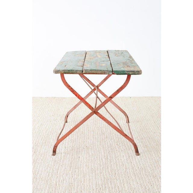 Red French Folding Iron Garden or Bistro Style Dining Table For Sale - Image 8 of 13
