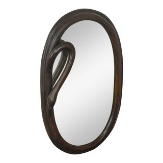 Art Nouveau Style Carved Mahogany Oval Swan Neck Mirror For Sale