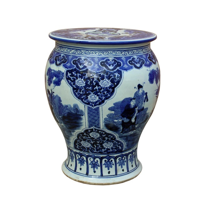 This is an oriental blue & white porcelain stool with nice scenery of Eight Immortal around the body. It is made with a...