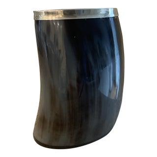 Vintage Silver Rimmed Free Form Horn Desk Accessory For Sale